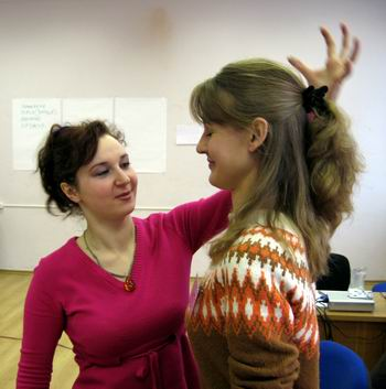 Тренинг в Москве. Визуализация сочного мандарина над головой.